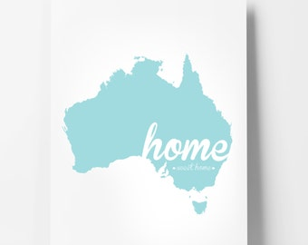 "Australia Poster Print - ""Home Sweet Home"" - Aussie Home Decor - Modern, Typographic Art"