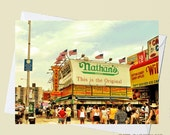 Weekday at Nathans - Coney Island Brooklyn- 4x5.5 Eco Friendly Postcard or Folded Note Card - Fine Art Photography