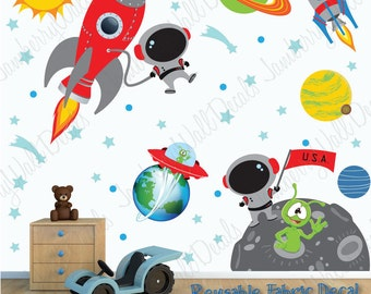 Space Wall Decal With Custom Name, Astronaut, Planets, Rocket (Space Scene  Light Part 93