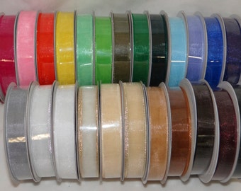 Sheer Organza Ribbon 5/8 25 yards (75 feet) 24 Assorted Colors Great for Wedding Favors, Gifts Etc