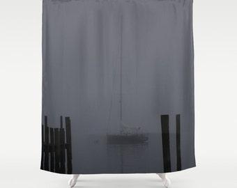 Shower Curtain, Sailboat Decor, Nautical Shower Curtain, Ocean Decor,  Sailing, Nautical