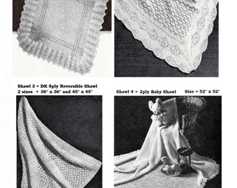 Baby Christening Heirloom Shawls 4 different styles in 2ply, 4ply , 3ply and DK yarns  - PDF of Vintage Knitting Patterns - Instant Download