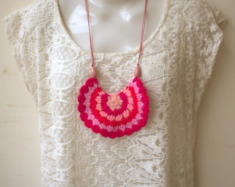 Colorful Crochet Bib Necklace - Bohemian -shades of pink