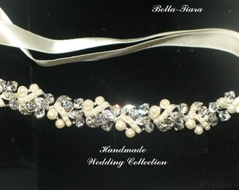 pearl wedding headband, crystal wedding headband, bridal ribbon headband, pearl wedding headpiece