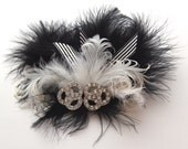 Black and Sliver Fascinator with Sparkly Broach and Black Ostrich Feathers