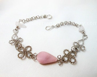 Pink Rose Quartz Teardrop Alpaca Silver Clovers Bracelet Peruvian Jewelry - Handmade in Peru