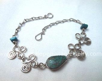 Green Turquoise Teardrop Alpaca Silver Inca Bracelet Peruvian Jewelry - Handmade in Peru