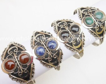 8 Double Semi-Precious Stone Bangles Handmade Peruvian Jewelry Art