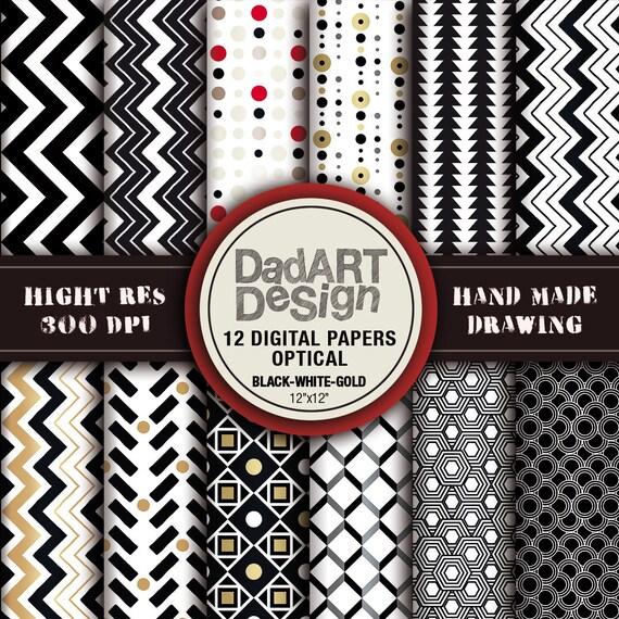 12 optical patterns digital paper pack, hi res files, instant download