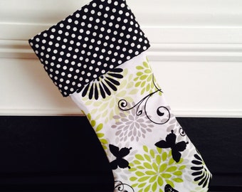 Butterfly Polka Dots black and Lime Stockings