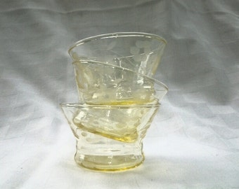 Yellow glass etched with floral design custard cups,glass votive candle, floating candle holders, dessert cups, sorters, jewelry holder
