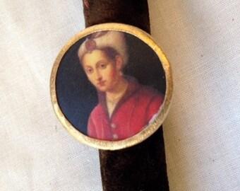 Bohemian Portrait Ring, Boho Style