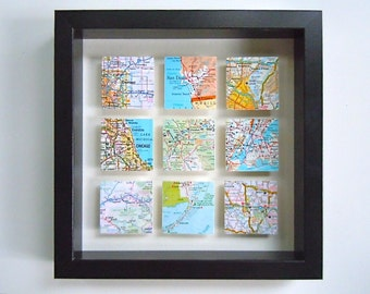 Nine Framed Square Maps - Shadow Box Map Art - Wedding or Anniversary Gift - Customized Gift for Traveler - 3D Map Art - Gallery Wall Art