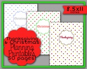 Thanksgiving & Christmas Holiday Party Planning Printables (8.5x11 inches)