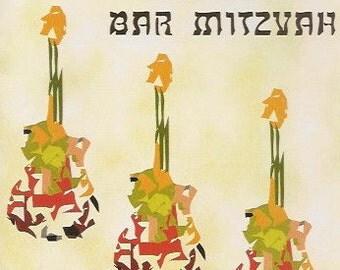 Bar Mitzvah Jewish Note Card with Guitars