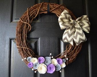 Chevron Burlap and Felt Grapevine Front Door Wreath - Grey, Purple and Cream - Year round, Winter wreath