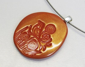 Autumn Bird - an one of a kind polymer clay pendant in cognac brown with metallic gold shine