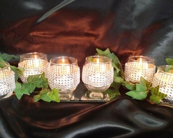 Set Of 6 Round Tea Light Holders, Bling, Sparkle, Party Candles, Wedding Reception, Anniverary Party, Engagement Party, Bridal Shower