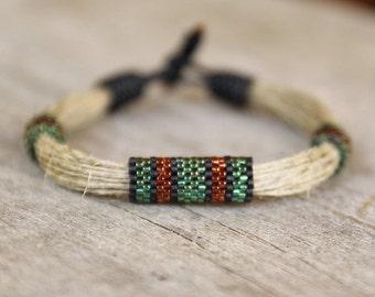 African Mens Bracelet, Mens Rope Bracelet,  Cord Bracelet, Mens beaded bracelet, Fiber Bracelet, Mens Jewelry, Mens Gift, String bracelet