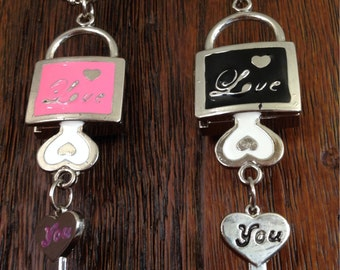 Watch necklace pendant padlock and key chain with love