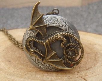 Dragon Locket Necklace Victorian Jewelry Gift Vintage Style