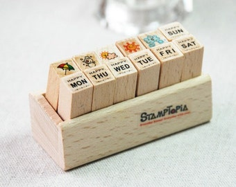 SALE! Week and Weather stamp set-- Korean Wooden Schedule Stamp-- Rubber Stamps--Deco stamp--12pcs per set