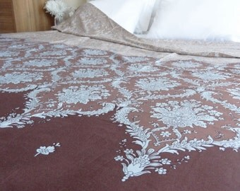 Full / Double / Queen Duvet Cover  Brown Damask Pattern Cotton Satin Fabric Home Decor Dorm Quilt Cover