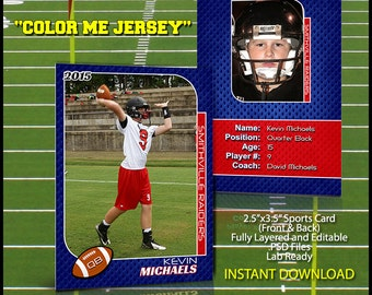 2017 Football Sports Trading Card Template For Photoshop COLOR ME JERSEY
