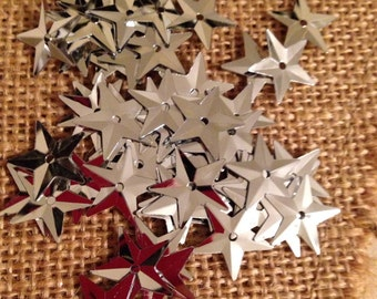 SILVER STAR Sequin for crafts, sewing, jewelry and more 16mm 50 pieces