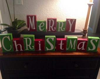 popular items for wooden blocks on etsy With merry christmas wooden letters