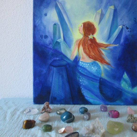 Waldorf art. Mermaid original oil painting. Blue mermaid with crystals. Mermaid under the sea. oil on canvas, 12''x15'' 30x40 cm