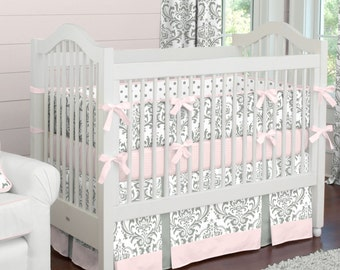 Girl Baby Bedding: Pink and Gray Traditions Damask 4-Piece Crib Bedding Set by Carousel Designs