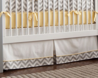 "Neutral Baby Crib Bedding / Boy Baby Bedding / Girl Crib Bedding: Gray and Yellow Zig Zag Crib Skirt - 14"" or 20"" by Carousel Designs"