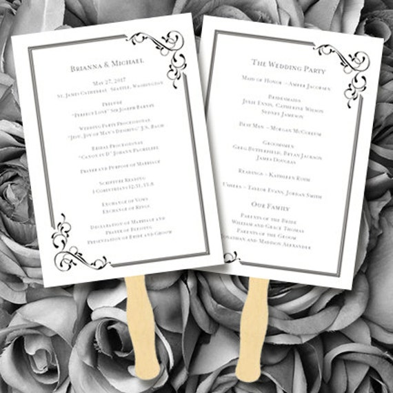 printable wedding program fan template floral by. Black Bedroom Furniture Sets. Home Design Ideas