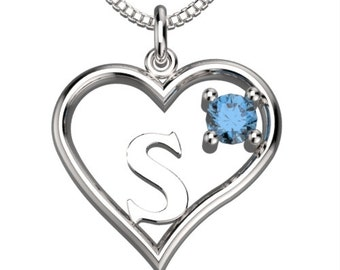 "BirthStone  Heart Letter S Sterling Silver Pendant &18"" Necklace December Blue Zircon"