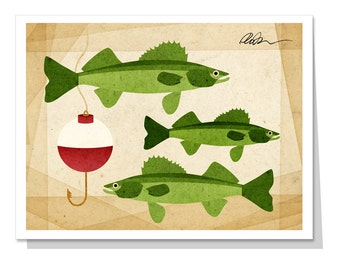 Walleye and Fishing Bobber  Greeting Card