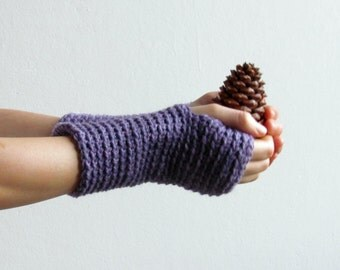 Driving gloves in purple - minimalistic fingerless gloves -  Wool wrist warmers in cool radiant orchid color - CHOOSE YOUR COLOR (28 colors)