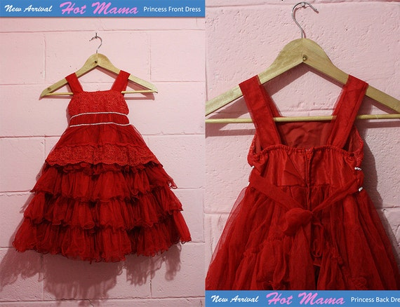 HotsMama Christmas Red Flower girl dress - Baby Dress - Toddler Bridesmaid - Toddler Dress - Toddler Tutu Dress