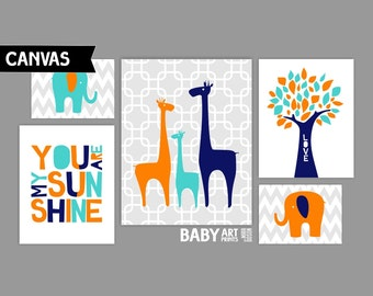 Navy, Orange and Turquoise Nursery canvas art prints, Set of 5, Family, Elephants, Giraffe, Tree, You are my sunshine ( MS004 )