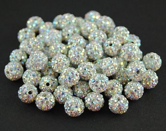 20 pcs 8mm Polymer Clay with white AB Rhinestone Loose Bead Pave Disco Crystal Ball Beads Spacer Findings
