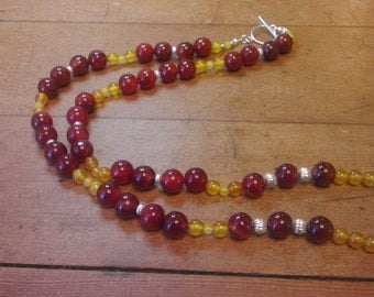 handcrafted necklace with carnelian's yellow ametrine,  and sterling silver.