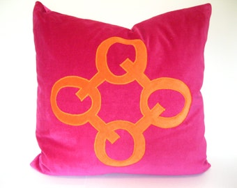 Pink Pillow Cover - Fuchsia and Orange Velvet Pillow Cover with Geometric Applique