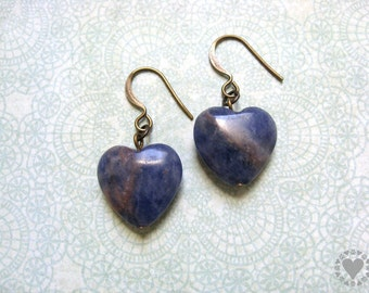 Chamsky - antiqued gold plated earrings, denim blue sodalite stone heart - All donated to animal charity