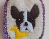Boston Terrier with yellow scarf. Hand sewn one of a kind felt brooch
