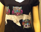 WomensPlus Size Rebel Owl  Tshirt - Upcycled recycled repurposed embellished tshirts  Wearable Art - Novelty tshirts gift idea