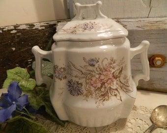 Antique Johnson Brothers Royal Ironstone China Lidded  2 Handled Covered Sugar Bowl Jar