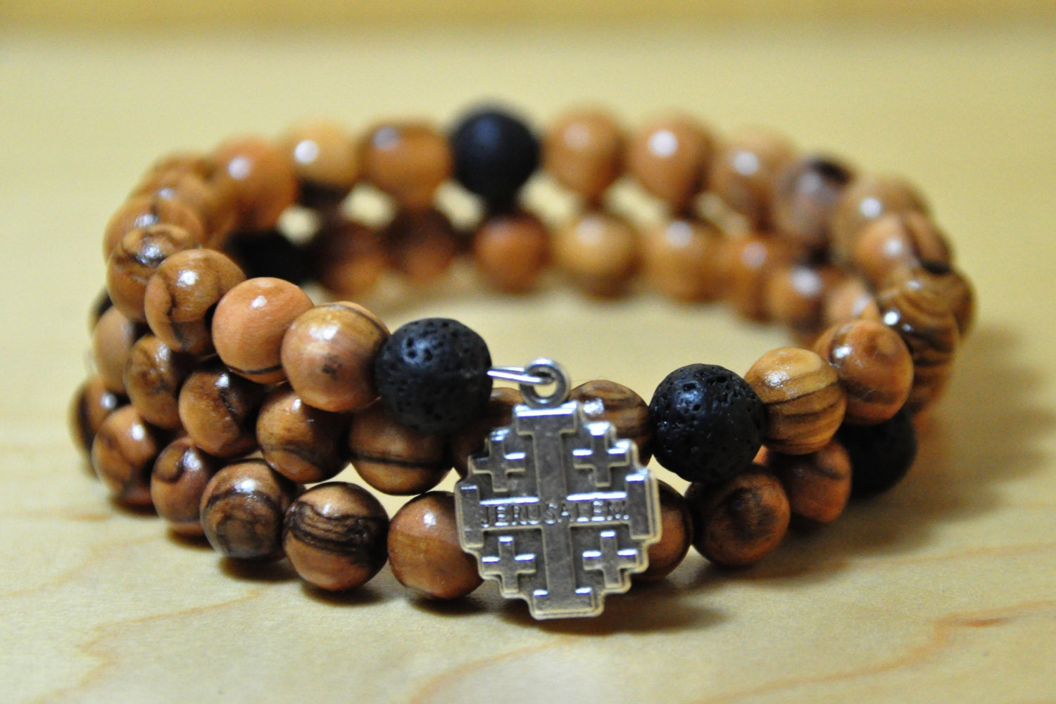 Olive Wood Bracelet Rosary Made Of Olive Wood Beads Mixed With
