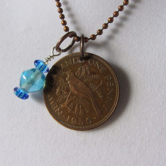 sale new zealand coin necklace one penny by