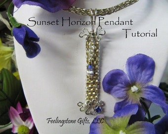 Sunset Horizon Pendant, Instant Download PDF Tutorial , Free Gift Tutorial, Wire Weaving, Basket Weave, Wire Wrapping