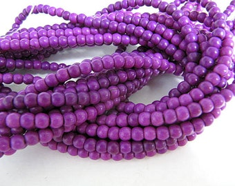 Turquoise Bead Strand, Synthetic, Purple, Dyed, Round, 6mm, 67 Piece Strand, Sale, Jewelry Supply